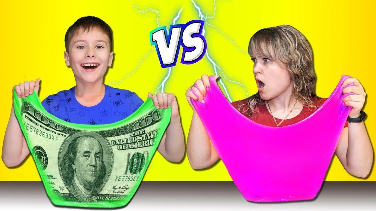 Домашний Слайм VS Магазинный !!! Серёжа и Мама Спорят на Желание !