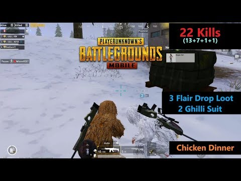 [Hindi] PUBG Mobile | '22 Kills' With Squad 3 Flair Drop 2 Ghilli Suit Chicken Dinner