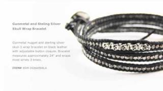Chan Luu - Gunmetal and Sterling Silver Skull Wrap Bracelet