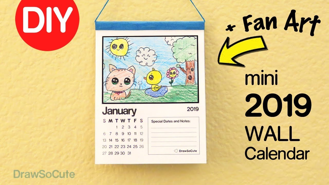 How To Make A 2019 Mini Wall Calendar Fan Art Youtube