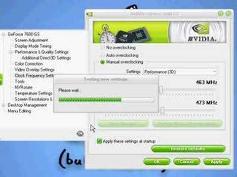 nVidia GeForce 7600 GS overclock