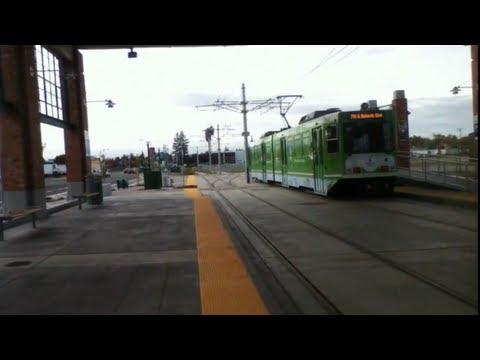 Riding the Sacramento metro light rail (Green Line) Township 9 and Gold Line