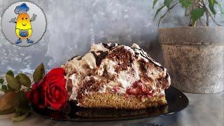 Торт КУЧЕРЯВЫЙ ПИНЧЕР рецепт с секретом Бисквитный торт с фруктами и белым кремом