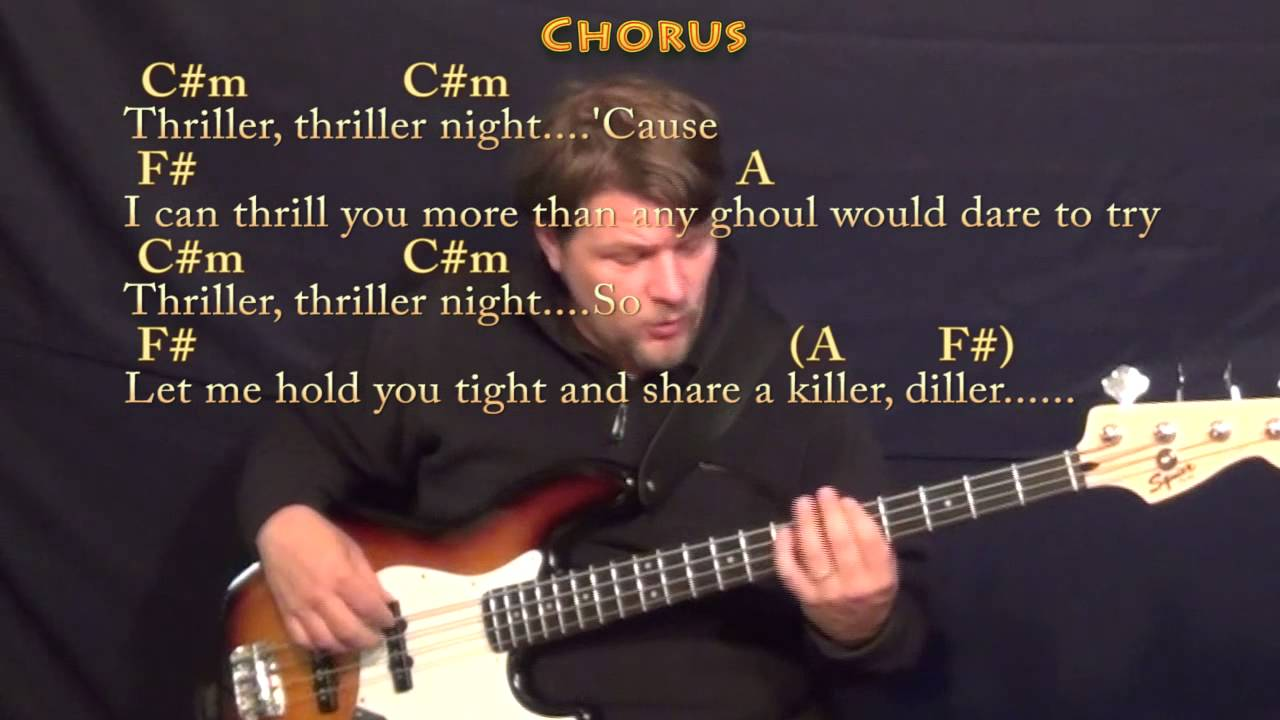 Thriller Michael Jackson Bass Guitar Cover Lesson In Cm With