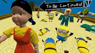 MINIONS PLAYING the SQUID GAME in GREEN LIGHT, RED LIGHT IN MINECRAFT  Gameplay