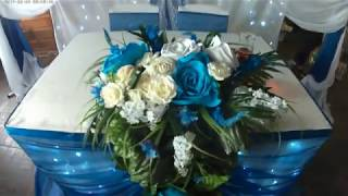 И еще раз оформление в синем. Свадебное оформление в синем цвете