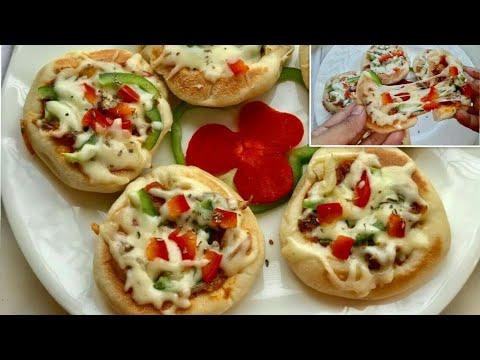 চুলায় তৈরি চিকেন মিনি পিজ্জা//Chicken Mini Pizza For Kids//Easy Pizza Recipe