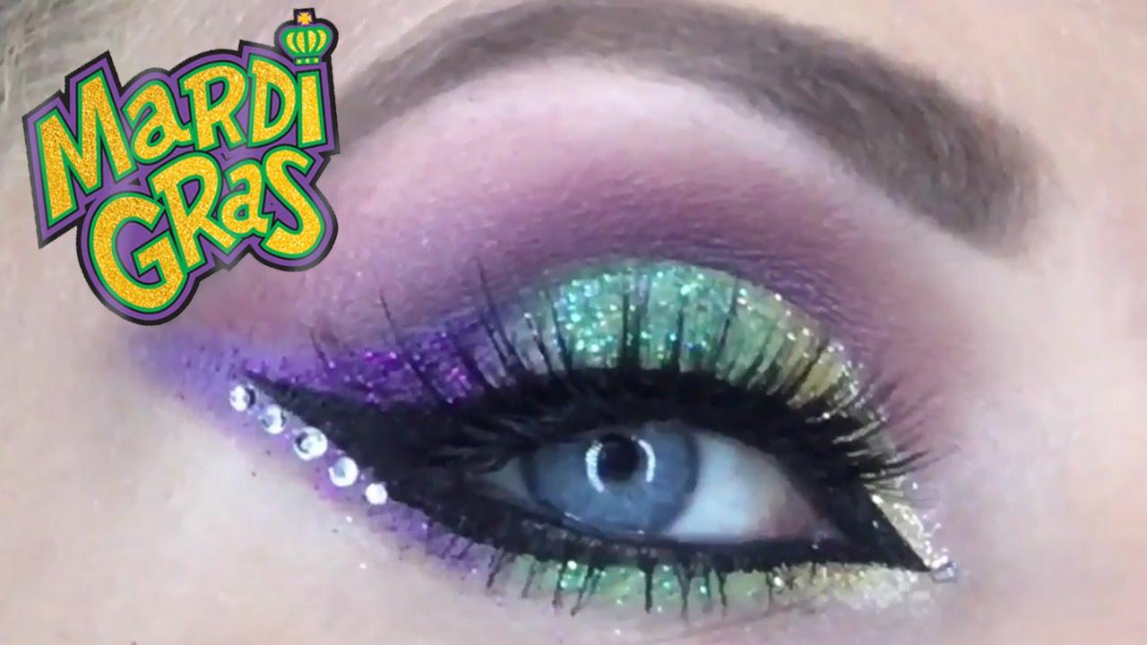 Mardi Gras Glitter Eye Look Purple Green Gold Eyeshadow Tutorial