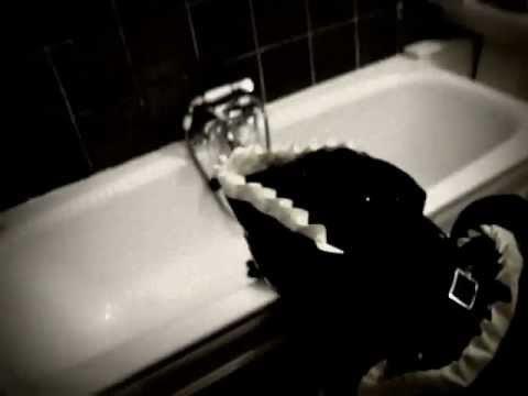 Gimp cleans the bathroom