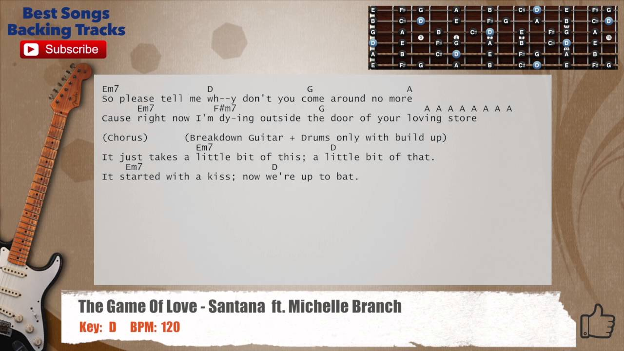 The Game Of Love Santana Ft Michelle Branch Guitar Backing Track