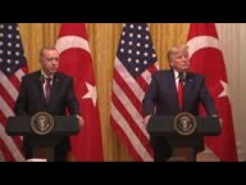 With Erdogan, Trump talks impeachment, Kurds