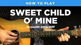 🎸 Sweet Child O' Mine • Acoustic intro riff w/ tab (Guns N Roses guitar lesson)