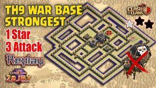 (1 Bintang) 3 Kali Serangan | Bukti Replay | TH9 War Base Terkuat | Clash of Clans