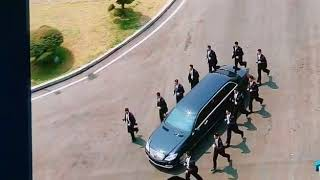 North Korean leader Kim Jong Un and his delegation leaving the Peace House