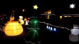 Cool Outdoor Christmas Holiday Decorations With Inflatables And Mini Laser Light Show Projector