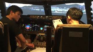 Full start up and departure from Hong Kong in the 747. Take off by first officer (READ DESCRIPTION)
