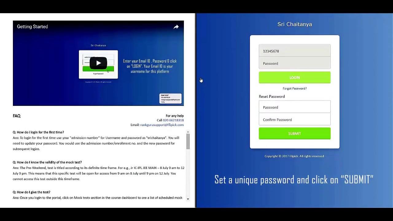 Sri Chaitanya Top 3 Tips , Free Online Exam & Online Mock Test & Schedule  For IIT-JEE 2018