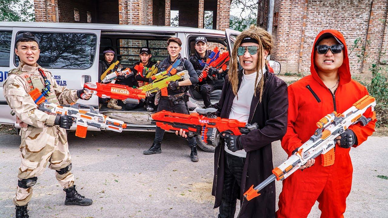 LTT Game Nerf War : COUPLE Warriors SEAL X Nerf Guns Fight Hunt For illegal Criminals Rocket Crazy