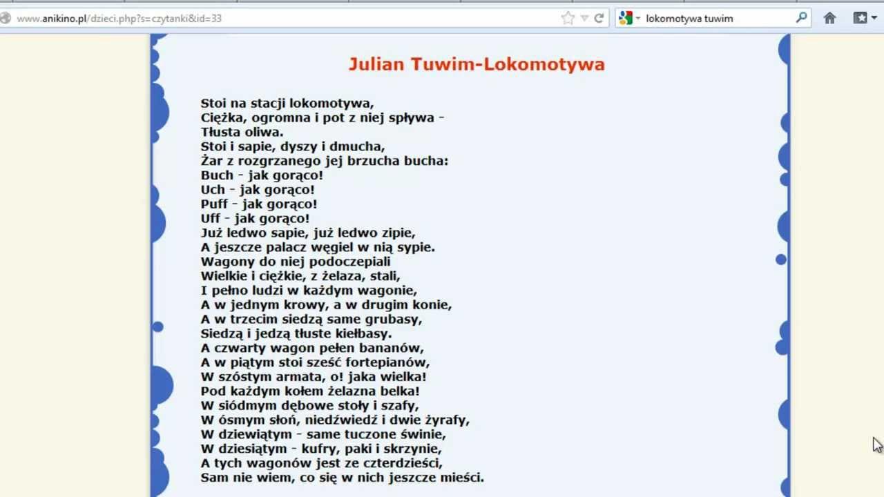 Julian Tuwim Lokomotywa Czytanie Dla Dzieci