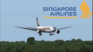 Singapore Airlines Boeing 777 landing at Copenhagen Kastrup International EKCH - FSX