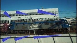 まるで青函トンネルかのように貨物列車と隣接ですれ違って姫路城が見える姫路駅を超高速で通過していく山陽新幹線下りN700系のぞみの車窓