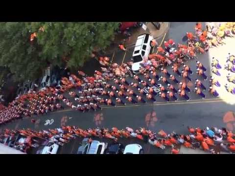 Clemson University Tiger Band marching to Memorial Stadium 9/6/14 game against SC State