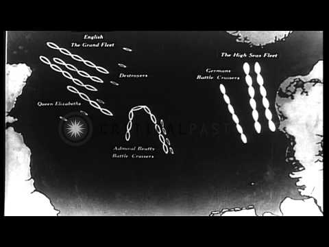 Maps showing fleet movements of British and German warships during Battle of Jutl...HD Stock Footage