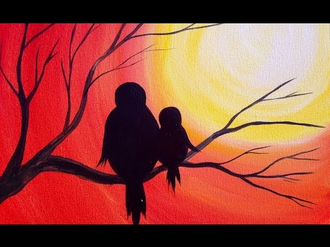 Easy Acrylic Painting | Simple Mama Bird Sunset | The Art Sherpa