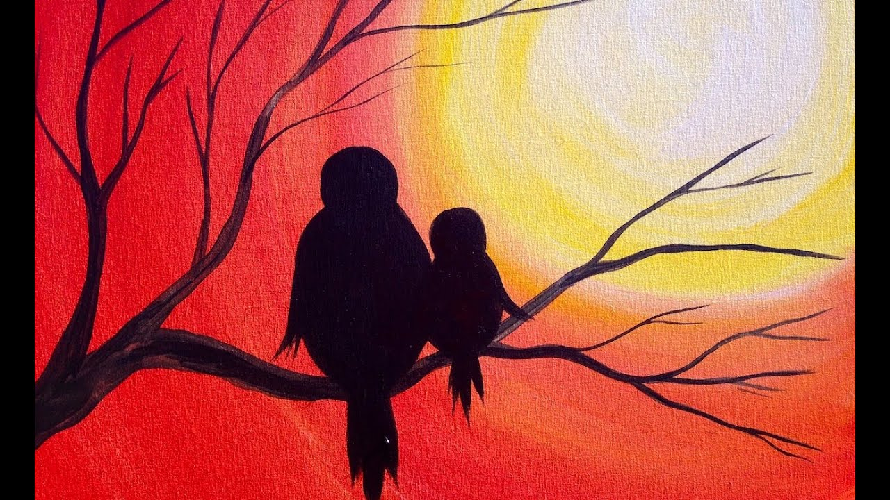 Easy acrylic painting simple mama bird sunset the art for How to come up with painting ideas