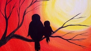 Easy Acrylic Painting | Simple Mama Bird Sunset | The Art Sherpa