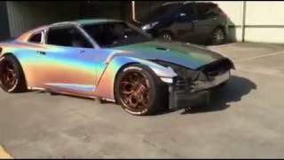 NISSAN GT-R Rainbow colour effect 3D holographic silver paint