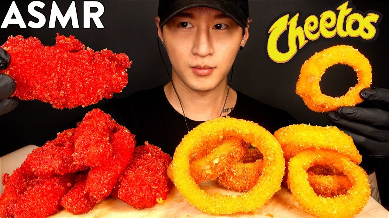 ASMR CHEETOS CHICKEN TENDERS & ONION RINGS MUKBANG (No Talking) COOKING & EATING SOUNDS