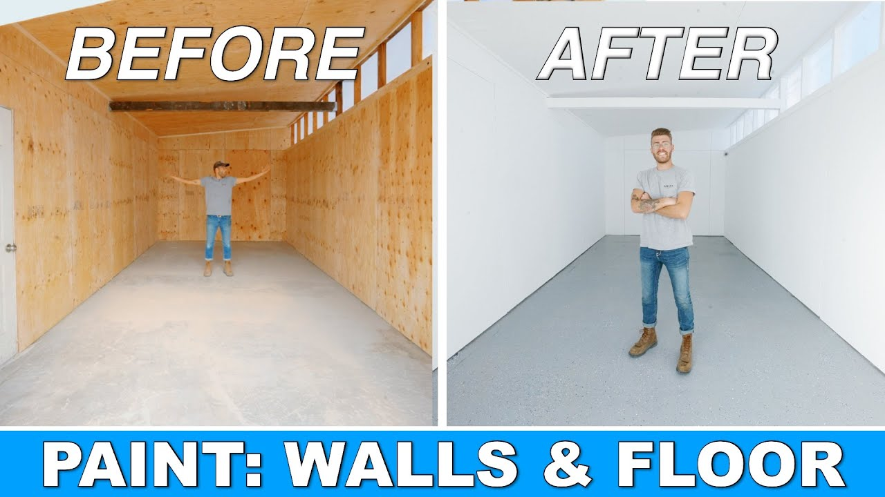 EP. 2 DIY SHED TO WORKSHOP CONVERSION | PAINTING PLYWOOD WALLS & CONCRETE EPOXY | MODERN BUILDS