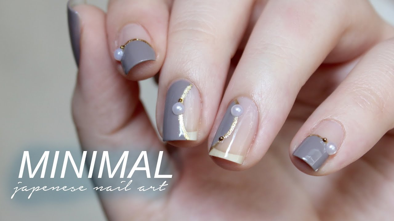 Minimal Japanese Inspired Nail Art - YouTube