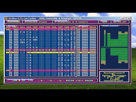 My Dos Music Editor (Tracker) running under Dosbox. Song PANORAMA. (OPL3)