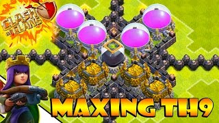 Maxing Town Hall 9 - Dark Elixir Farming with (GiWi) Super Queen Walk