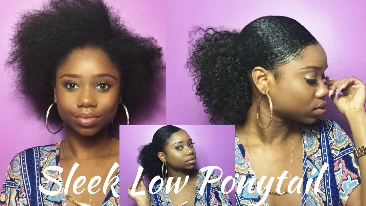 Sleek Low Curly Ponytail On Short Medium Natural Hair Curly