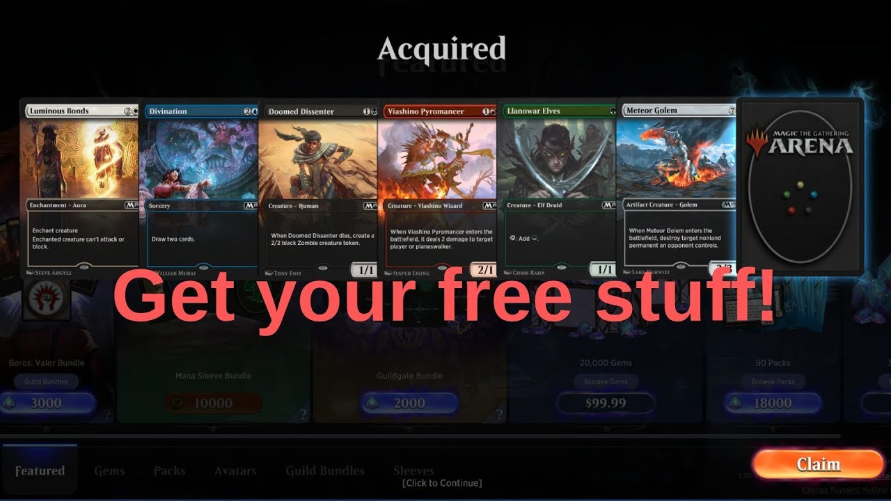 MtG Arena Codes for Free Card Styles and Packs