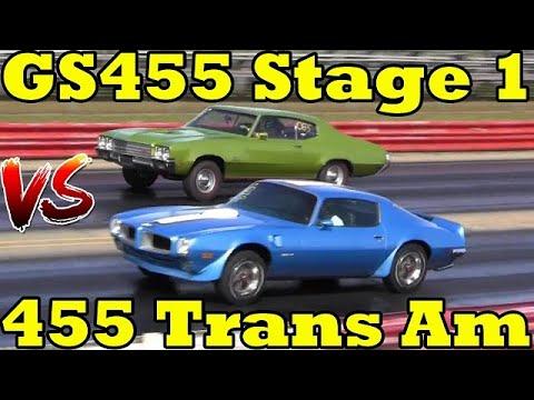Trans Am 455 HO v Buick GS 455 Stage 1 - Burnout & 1/4 Mile Drag Race x 2 - Road Test TV
