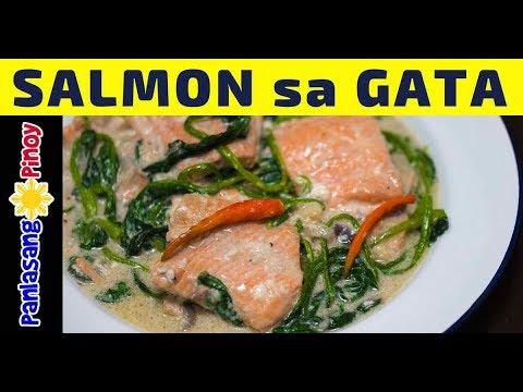 Ginataang Salmon (Salmon in Coconut Milk) - Filipino Recipe