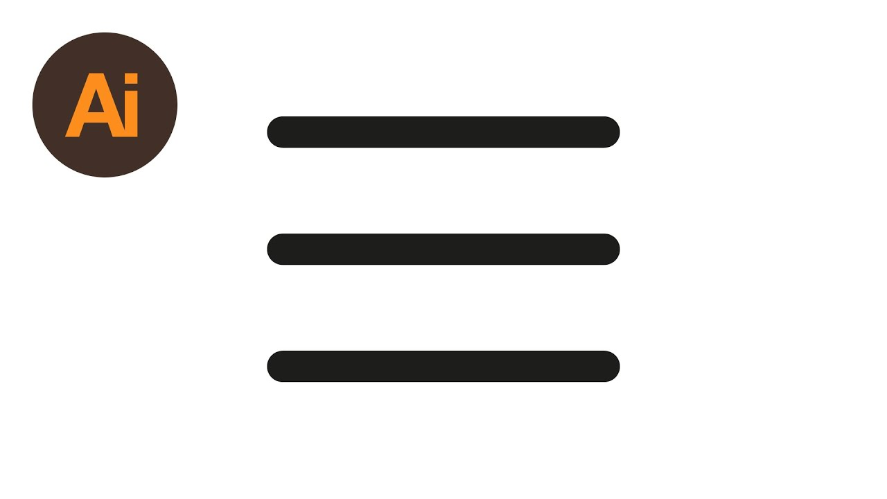 Learn How To Draw 3 Hamburger Menu Icons In Adobe