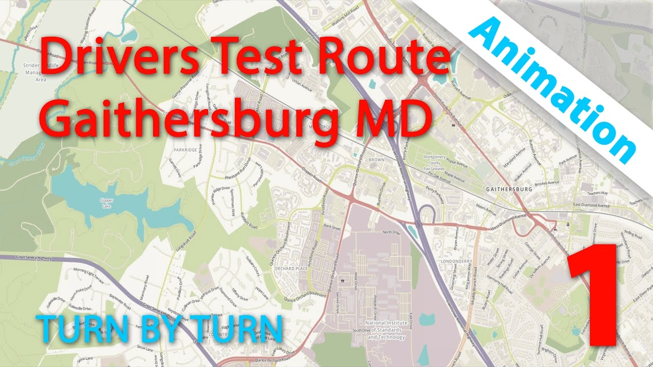 Drivers Test Route | Gaithersburg MD Animation 1 - Maryland Drivers