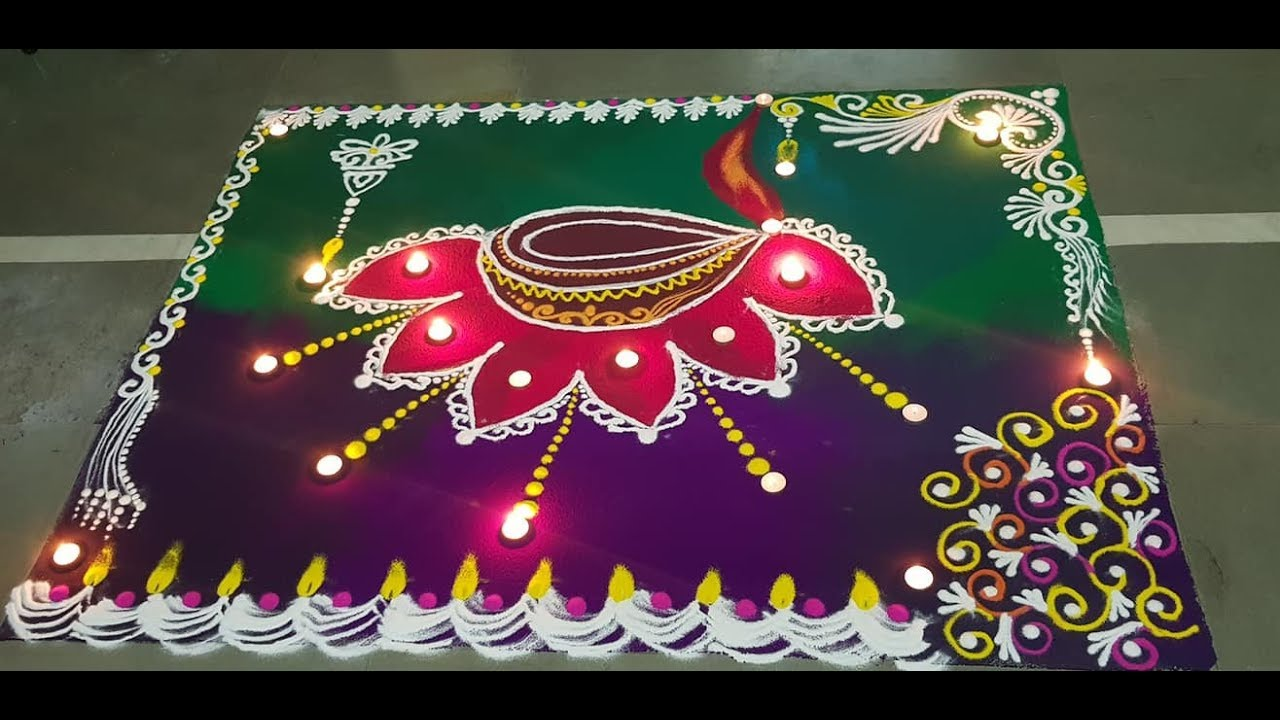 Cute Diwali Rangoli Deepam Kolam by Simple Rangoli Easy fast rangoli  संस्कार भारती  रांगोळी