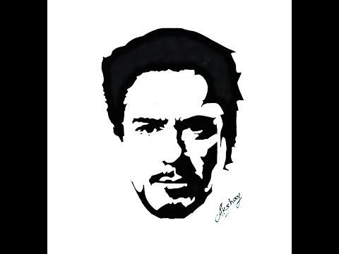 dead5d00452b4 How To Draw Tony Stark ( Robert Downey Jr) - Stencil Art - Art Maker