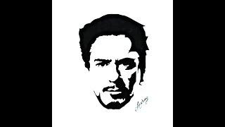 How To Draw Tony Stark ( Robert Downey Jr) - Stencil Art - Art Maker Akshay