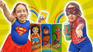 Maria Clara Pretend Playing SuperHero with Magic Pringles | الشبس السحري - MC Divertida