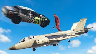 CRAZIEST CAR VS JET TAKEOUT! (GTA 5 Funny Moments)