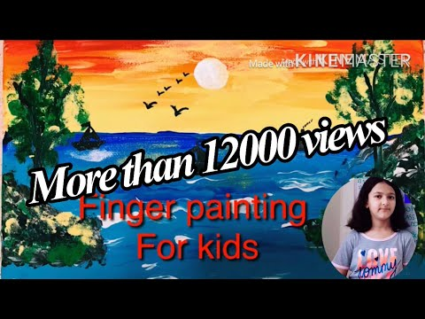 Finger painting for kids// Easy tutorial of acrylic painting for kids//landscape