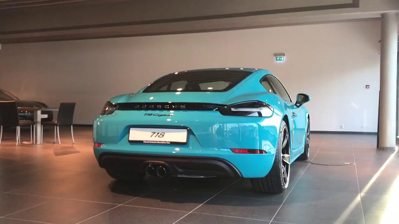 Porsche 718 Cayman Exclusive Miami Blue - Walkaround - YouTube