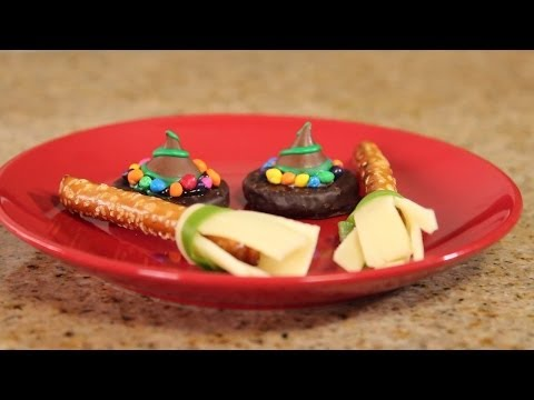 How To Make CHOCOLATE WITCH HATS and BROOM SNACKS - Quake N Bake